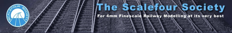 The society logo over a background of trackwork. For 4mm finescale railway modelling at its very best